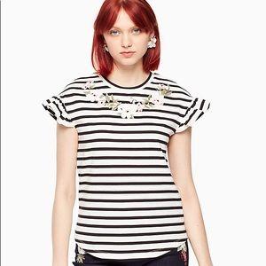 🆕 Kate Spade embroidered striped ruffle tee
